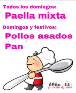 Domingos paella mixta y pollo asado los festivos, comidas para llevar en Caniles en La Cocina de Inma